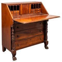 Caribbean Colonial Style Slant Front Secretary Desk in Mahogany