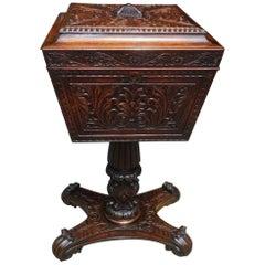 Caribbean Mahogany Hinged Pedestal Tea Poy with Foliage Carvings, Circa 1820