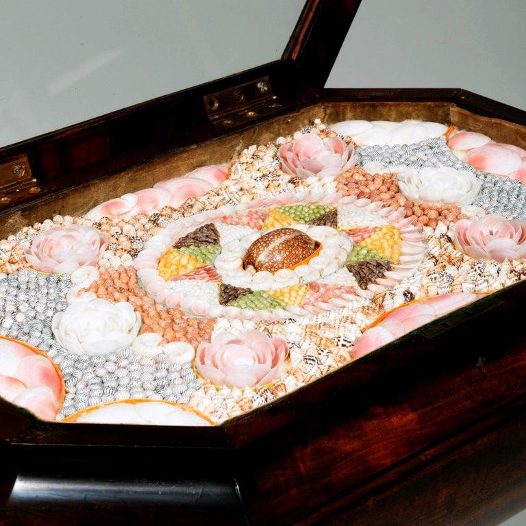William IV Caribbean Mahogany Table with Sailor's Valentine, circa 1840