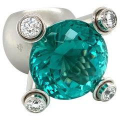 Georg Spreng - Caribbean Octopus Ring Pt 950 Tourmaline Paraiba color Diamonds