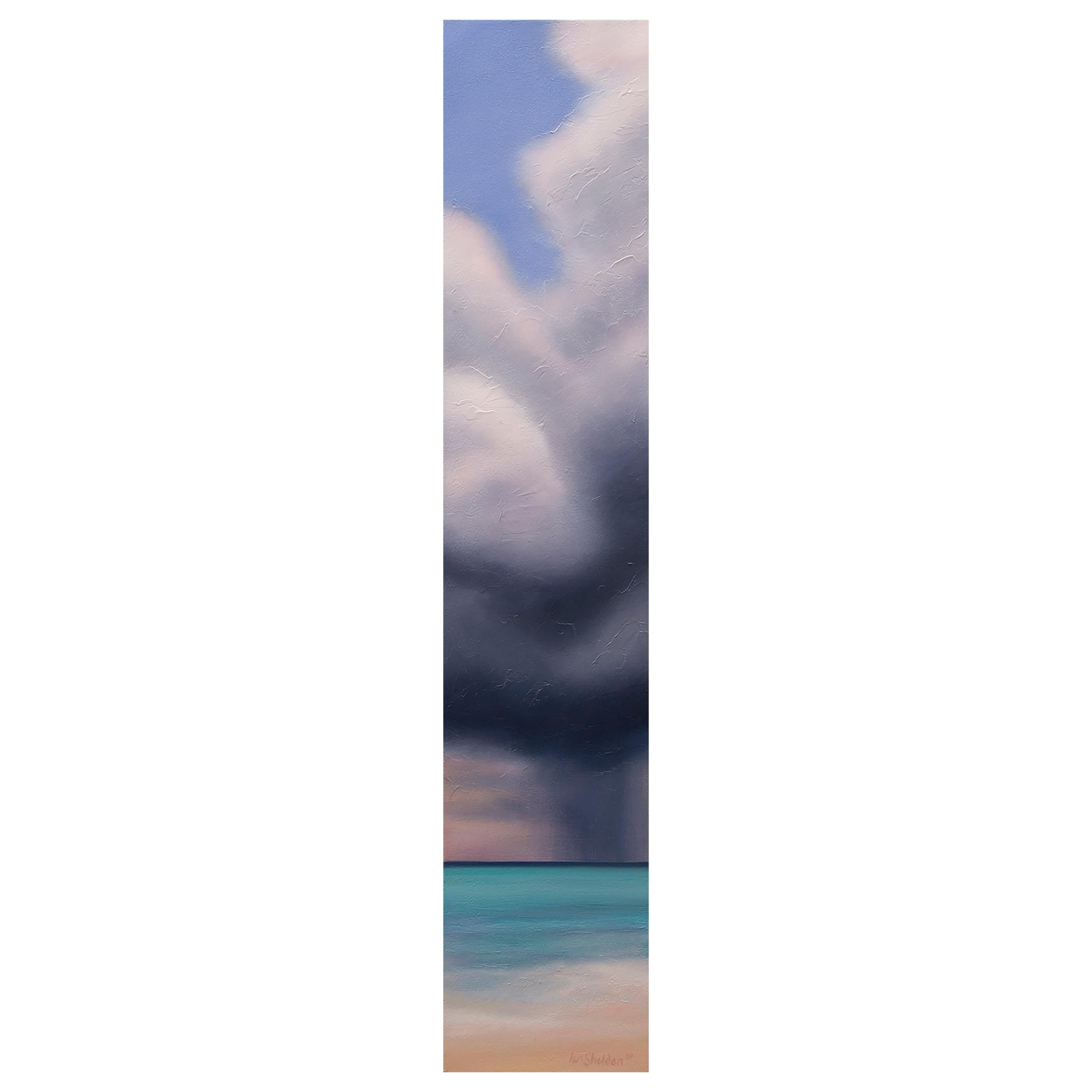 """Caribbean Sky Slice"" Blue, Azure Sea Oil on Canvas by Storm Chaser Ian Sheldon"