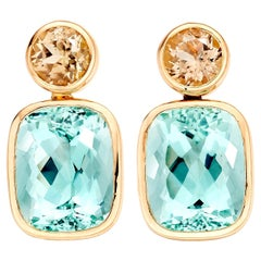 Caribbean Tourmaline Stud Drop Earrings in 18 Karat Rose Gold