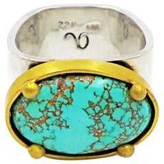 Carico Lake Turquoise Set in 22 Karat Gold on Sterling Silver Square Ring