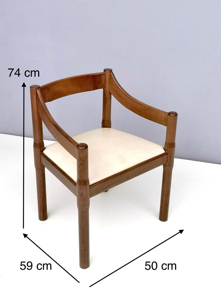 'Carimate' Walnut and Ivory Skai Chair by Vico Magistretti for Cassina, 1960s For Sale 3