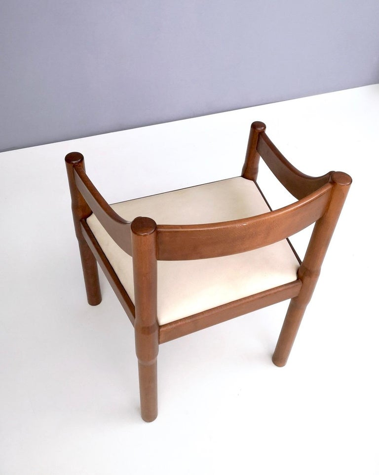 Mid-20th Century 'Carimate' Walnut and Ivory Skai Chair by Vico Magistretti for Cassina, 1960s For Sale