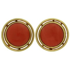 Carimati Red Coral Yellow Gold Large Round Clip-On Earrings