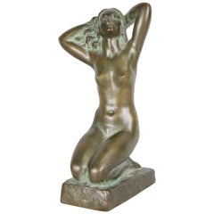 Carin Nilson, Swedish Bronze Nude Sculpture, 1940s