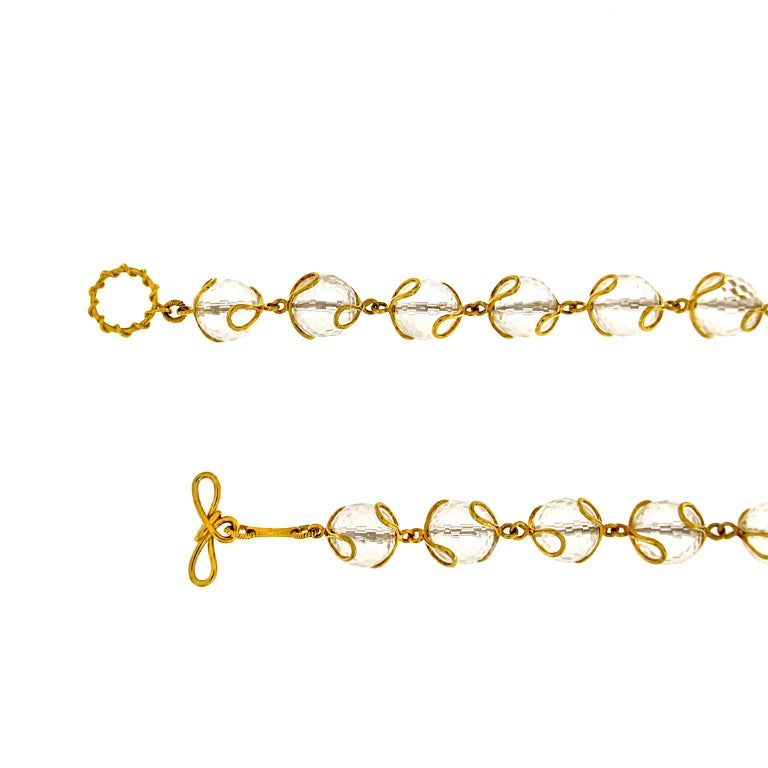 Women's Carina Crystal Ball Gold Necklace For Sale