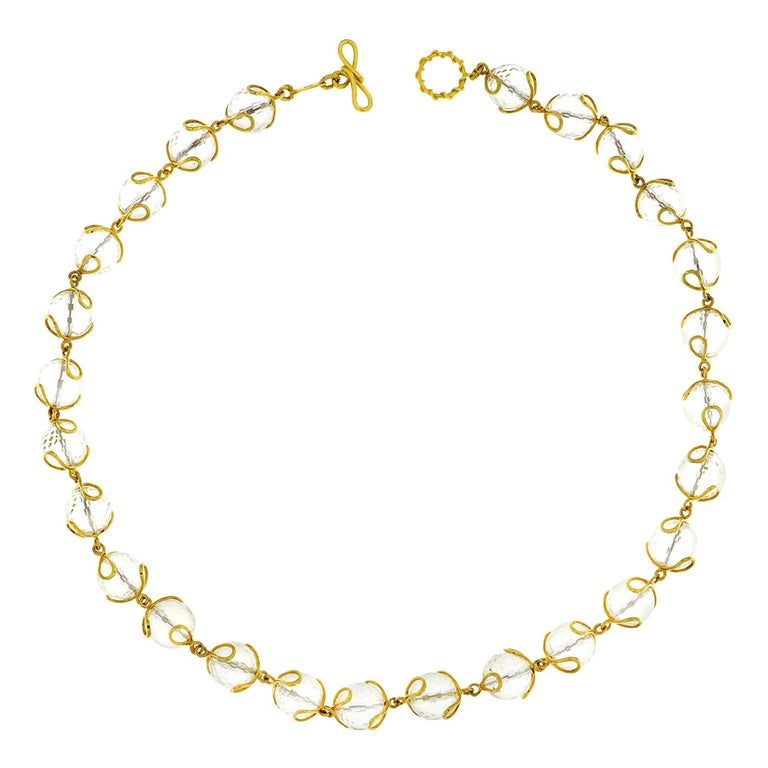 Carina Crystal Ball Gold Necklace For Sale