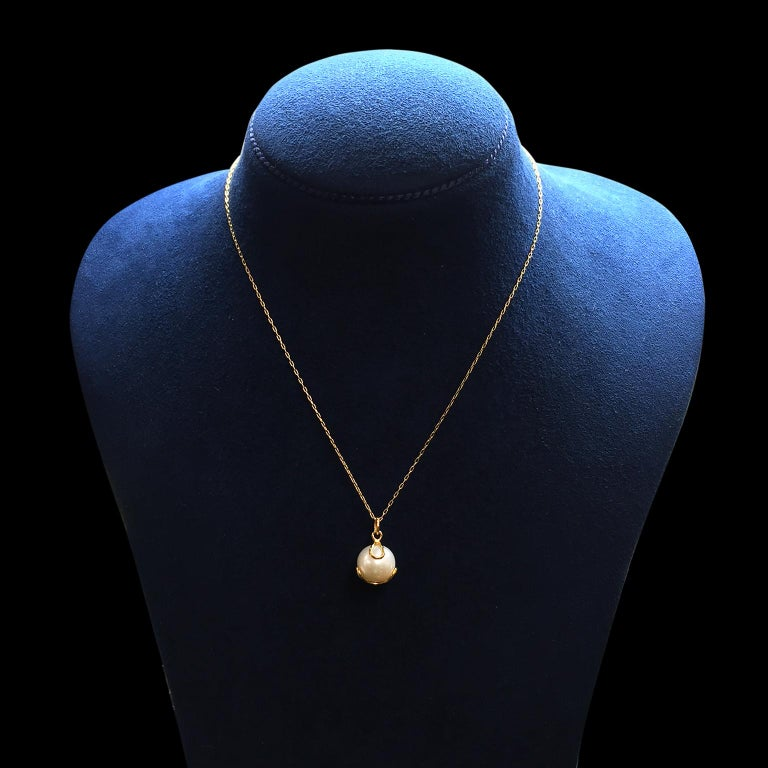 Women's Carina Pendant Fresh Water Pearl Gold Necklace For Sale