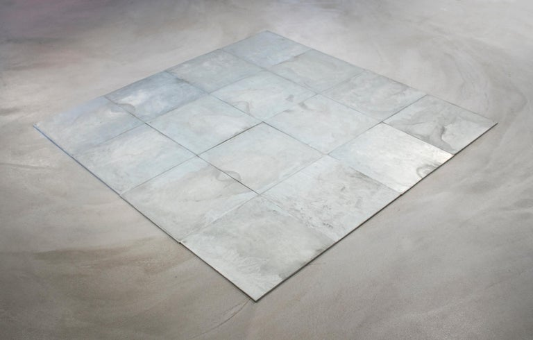Carl Andre Abstract Sculpture - 16 Ace Zinc Square