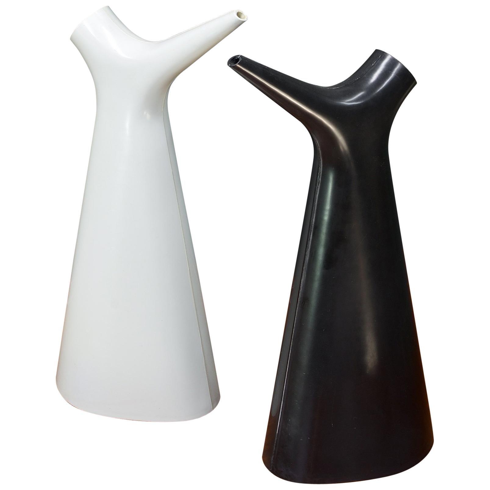 Carl-arne Breger Plastic Watering Cans Pitchers Gustavsberg Sweden Black White