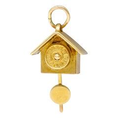 Carl-Art Retro 14 Karat Gold Cuckoo Clock Charm