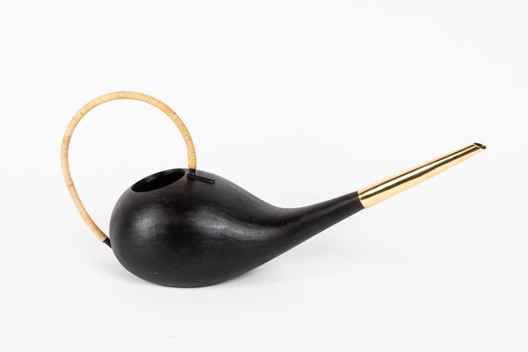 Austrian Carl Auböck #3632 Watering Can in Patinated Brass and Cane For Sale