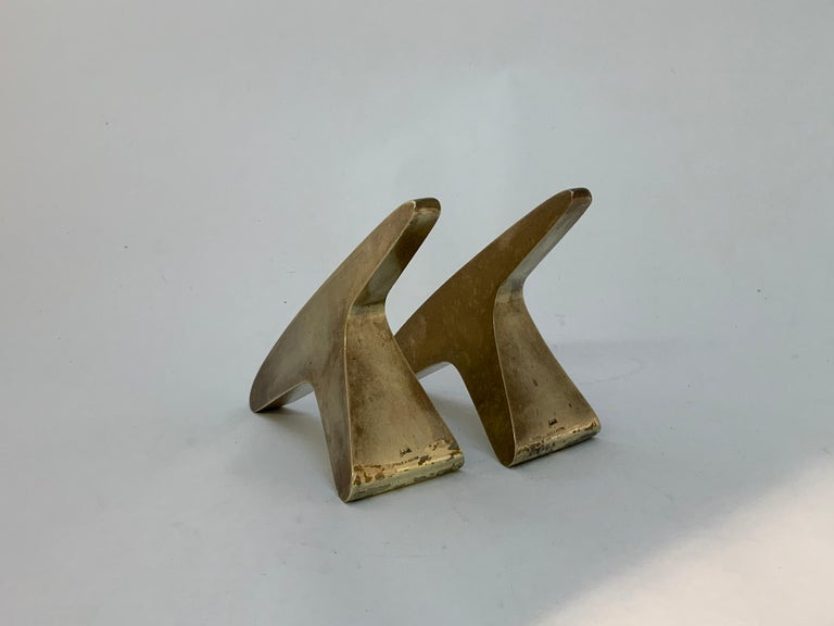 Mid-Century Modern Carl Aubock #3847 Brass Bookends For Sale