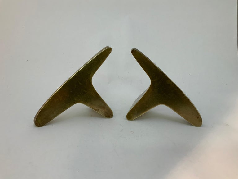 Cast Carl Aubock #3847 Brass Bookends For Sale