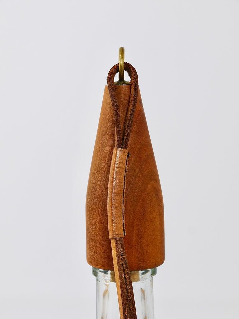 Austrian Carl Auböck Bottle Stopper, Walnut, Brass, Leather, Cork, Austria, 1950s For Sale