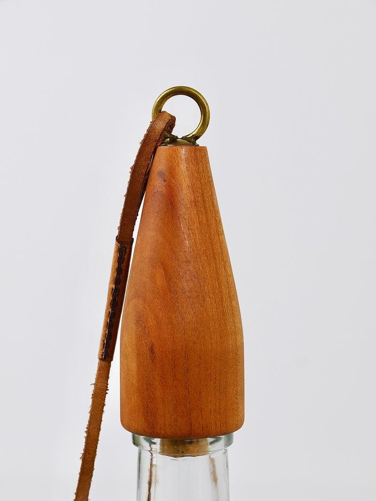 Carl Auböck Bottle Stopper, Walnut, Brass, Leather, Cork, Austria, 1950s For Sale 1