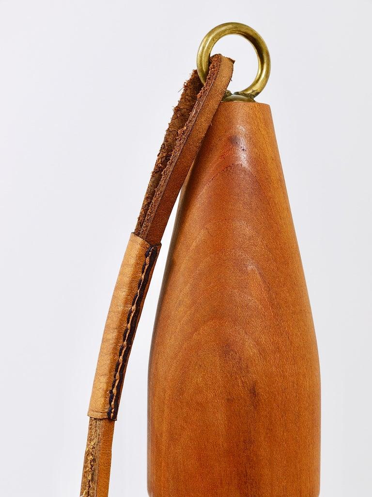 Carl Auböck Bottle Stopper, Walnut, Brass, Leather, Cork, Austria, 1950s For Sale 2