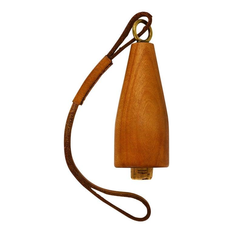 Carl Auböck Bottle Stopper, Walnut, Brass, Leather, Cork, Austria, 1950s For Sale