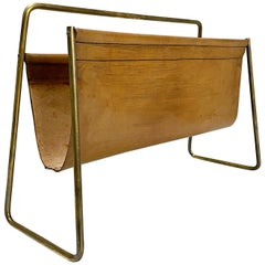 Carl Auböck Brass & Cognac Leather Magazine Rack, Stand No. 4488, 1950s, Austria
