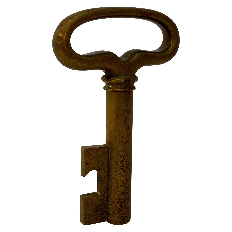 Carl Aubock Brass Key Bottle Opener Corkscrew