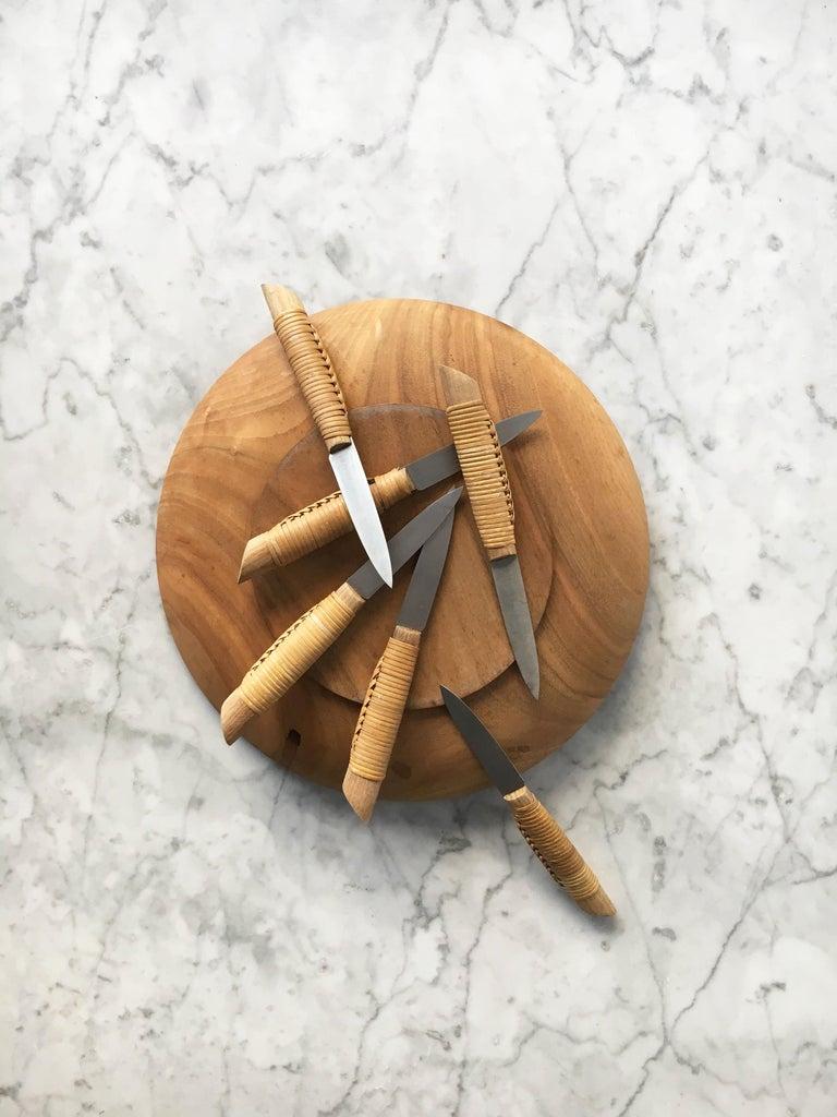 Carl Auböck Carved Walnut Fruit Bowl and Knife Set #4640, Austria, 1950 For Sale 5