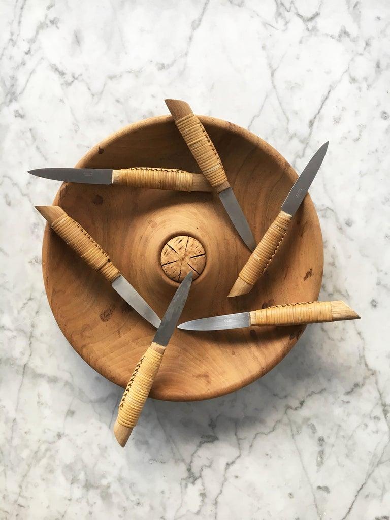 Carl Auböck Carved Walnut Fruit Bowl and Knife Set #4640, Austria, 1950 For Sale 1