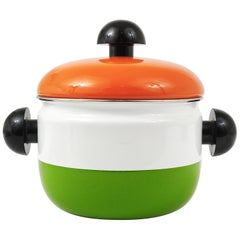 Carl Aubock Enameled Pot with Lid by Riess, Orange, White, Green, Austria, 1970s