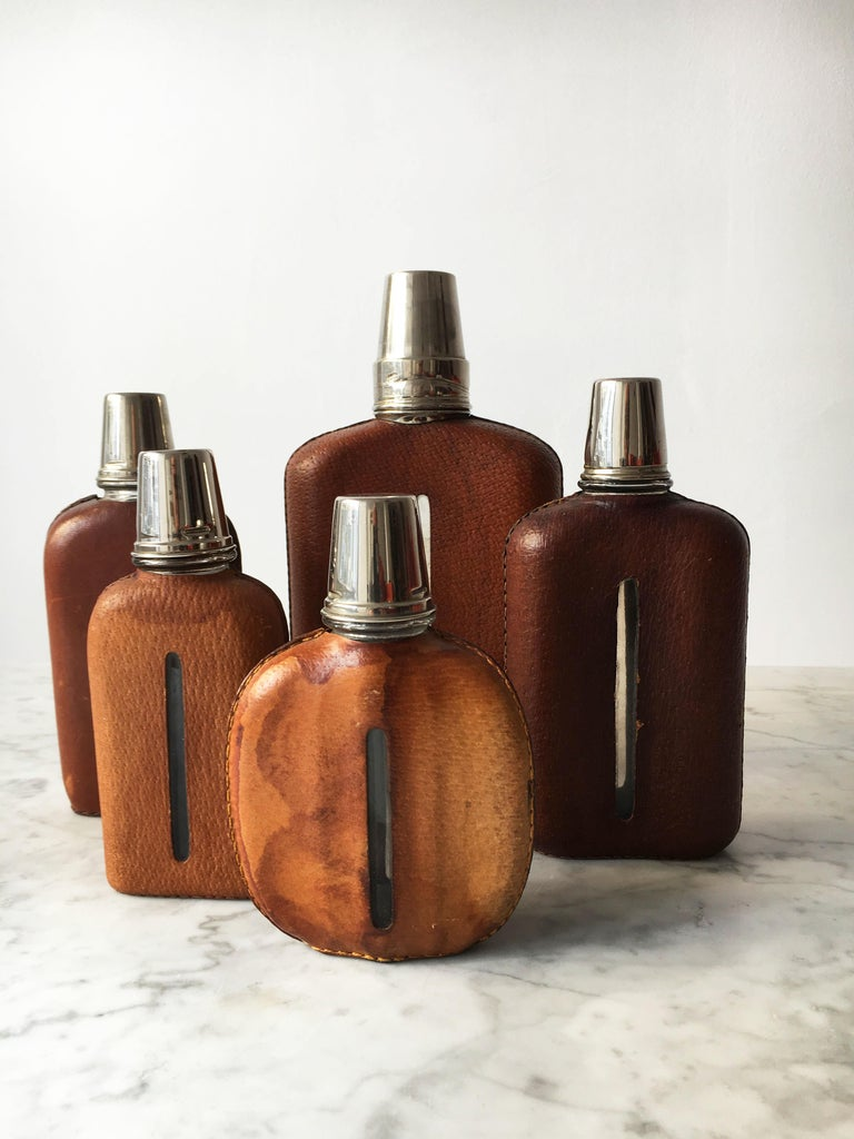 Mid-20th Century Carl Auböck Flask Collection, Group of Five, Austria, 1950s For Sale