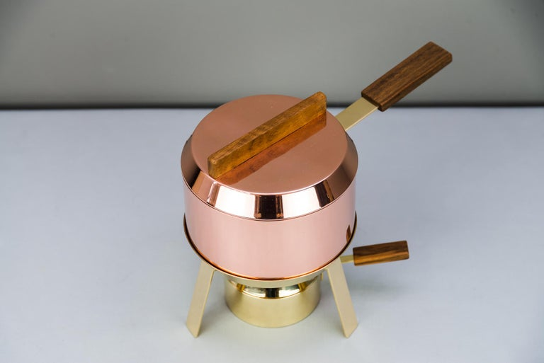 Mid-Century Modern Carl Auböck Fondue Pot and Burner, circa 1950s 'Marked' For Sale