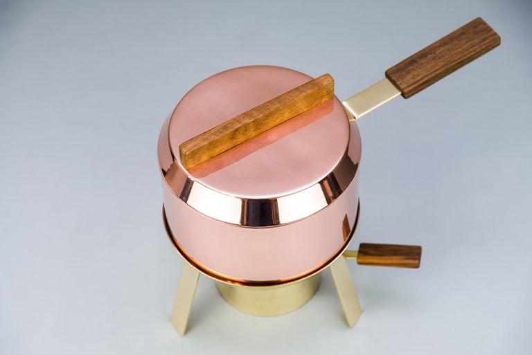 Austrian Carl Auböck Fondue Pot and Burner, circa 1950s 'Marked' For Sale