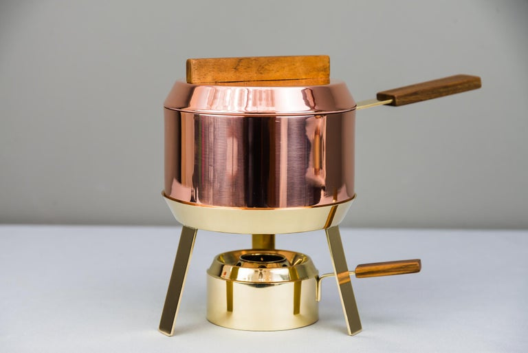 Carl Auböck Fondue Pot and Burner, circa 1950s 'Marked' In Good Condition For Sale In Wien, AT