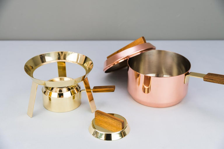 Mid-20th Century Carl Auböck Fondue Pot and Burner, circa 1950s 'Marked' For Sale
