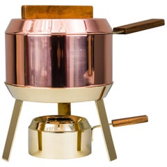 Carl Auböck Fondue Pot and Burner, circa 1950s 'Marked'