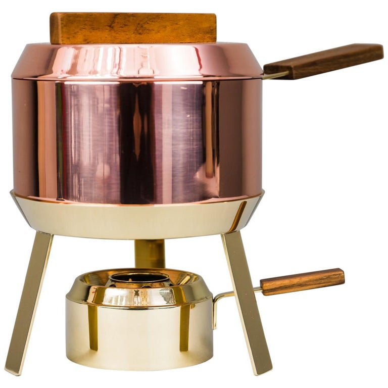 Carl Auböck Fondue Pot and Burner, circa 1950s 'Marked' For Sale