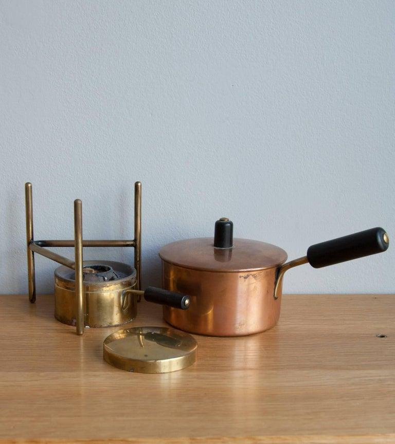 Mid-Century Modern Carl Auböck Fondue Pot and Burner For Sale