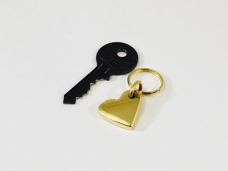 Mid-Century Modern Carl Auböck Handcrafted Midcentury Brass Heart Figurine Key Ring Chain Holder For Sale