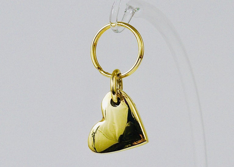 Austrian Carl Auböck Handcrafted Midcentury Brass Heart Figurine Key Ring Chain Holder For Sale