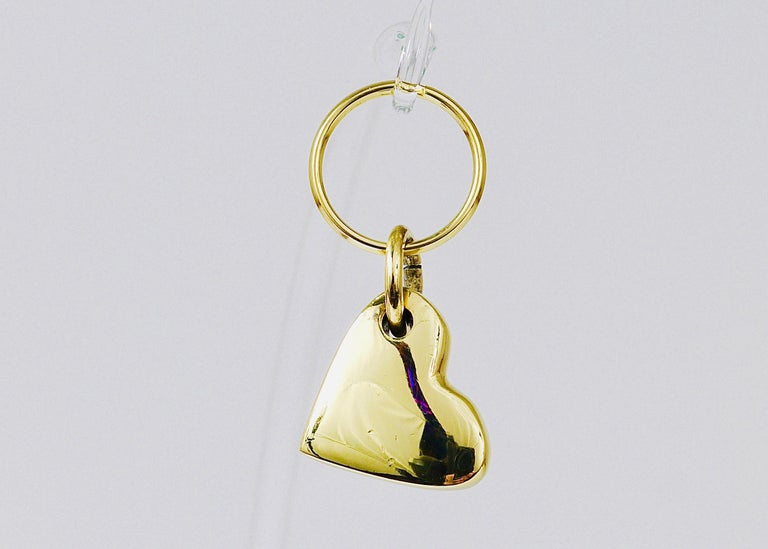 Polished Carl Auböck Handcrafted Midcentury Brass Heart Figurine Key Ring Chain Holder For Sale