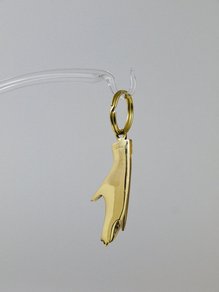 20th Century Carl Auböck Handcrafted Midcentury Hand Anchor Figurine Key Ring Chain Holder For Sale