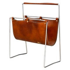 Midcentury Magazine Holder in Leather and Steel, 1950s