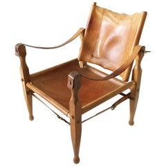 Carl Auböck II, Safari Chair Model 4979, Patinated Cognac Leather, Austria 1950s