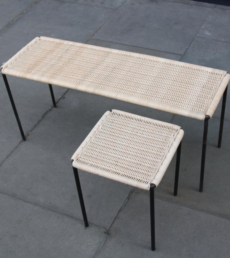 Mid-Century Modern Carl Auböck II Woven Wicker Long Rectangular Table, circa 1950 For Sale