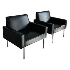 Carl Auböck III Attributed Patinated Leather Arm Lounge Chairs, Austria, 1960s
