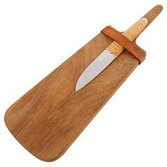 Carl Auböck Knife Cutting Chopping Board, Wood Wicker Stainless Steel, 1950s