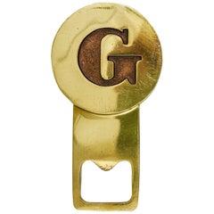 "Carl Auböck Letter ""G"" Initials Brass Bottle Opener, Austria, 1960s"