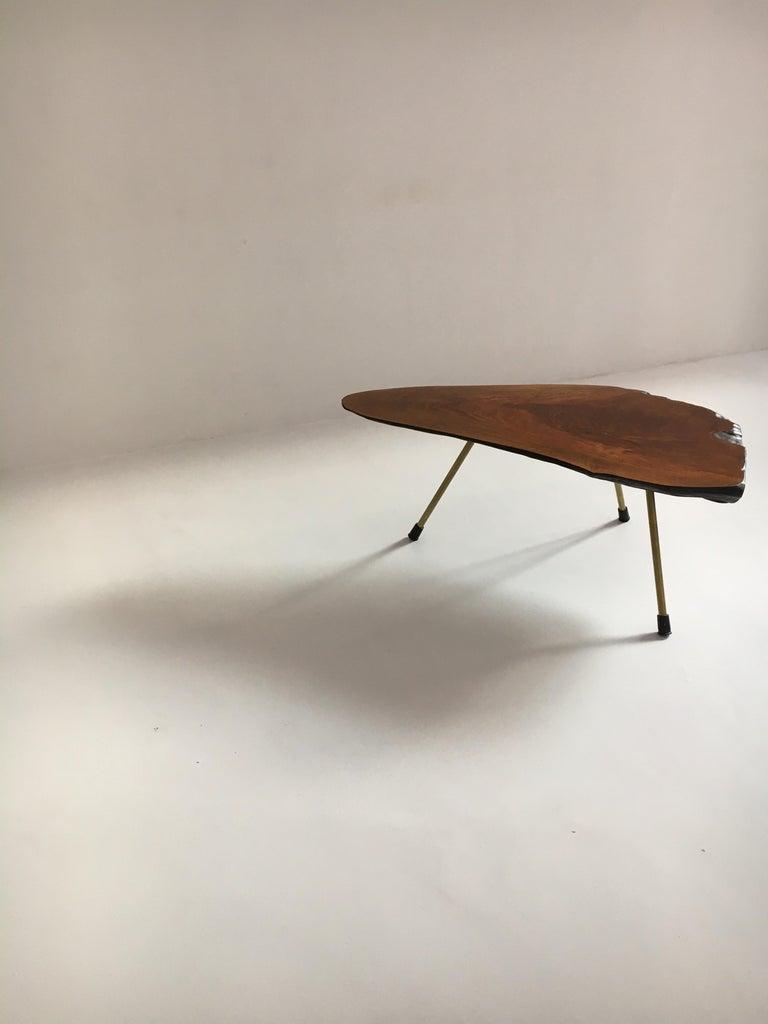 Brass Carl Auböck Substantial Live Edge Tree Trunk Table, Austria, 1950s For Sale