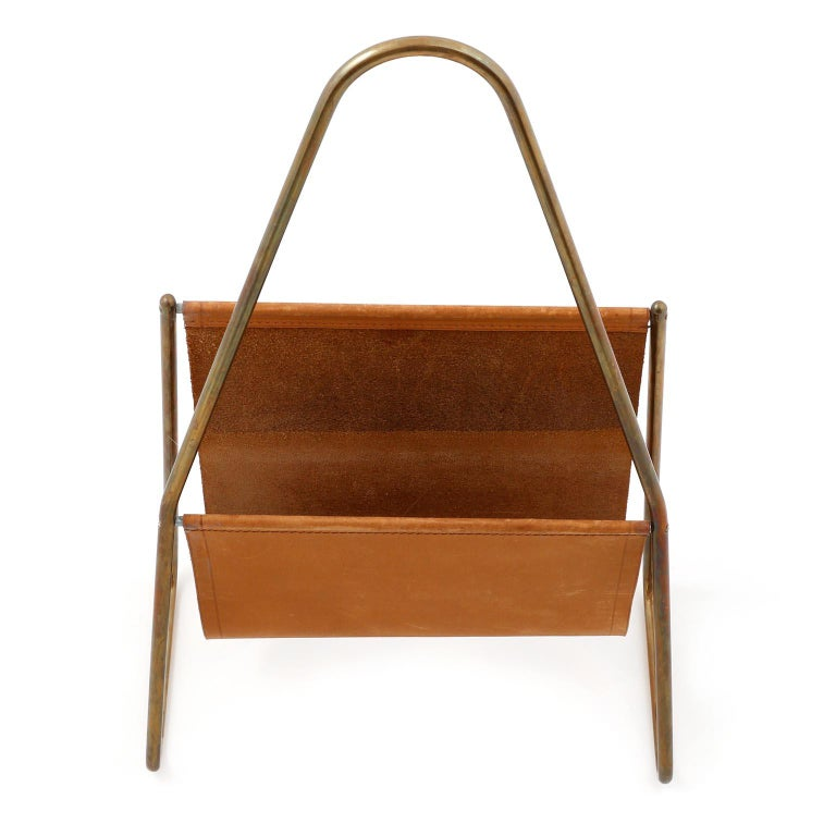 Mid-Century Modern Carl Auböck Magazine Newspaper Rack Stand Tray, Leather Brass, Austria, 1950s For Sale