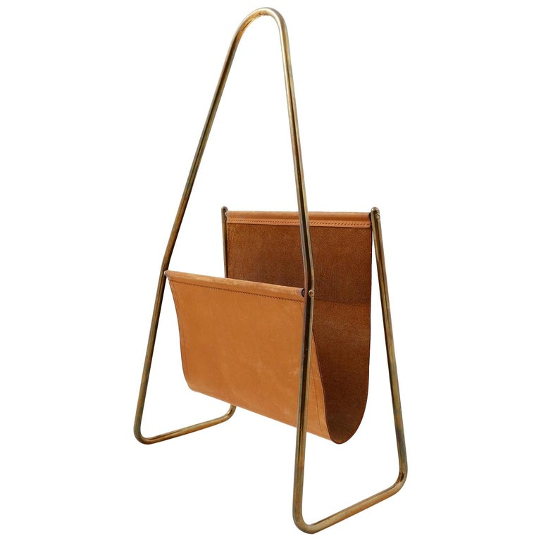 Carl Auböck Magazine Newspaper Rack Stand Tray, Leather Brass, Austria, 1950s For Sale